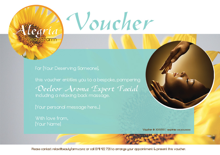 Gift Vouchers - Alegria Beautyfarm NZ